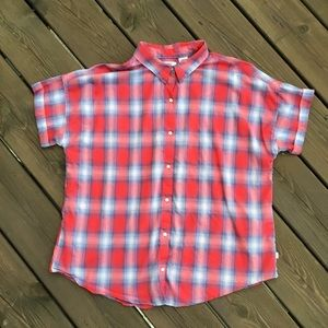 Levi's short sleeved button down plaid shirt